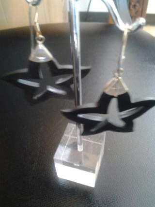 Imagen de Aretes de plata y madera estrella