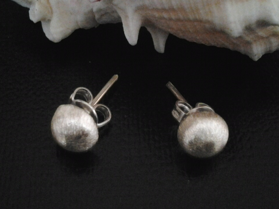 Imagen de Broqueles de plata estilo bola rayada numero 0