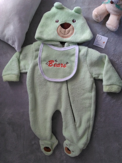 Imagen de Mameluco oso con gorro doble verde numero 1