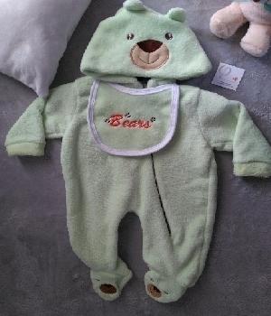 Imagen de Mameluco oso con gorro doble verde numero 0