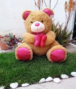 Imagen de Oso de peluche cafeacute grande con patas rosas 70 cms