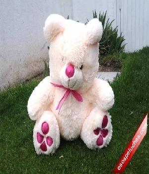 Imagen de Oso de peluche huellas rosa 50X30cms