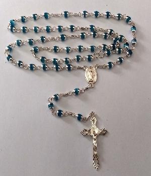 Imagen de Rosario de plata 925 cristales azules