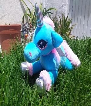 Imagen de Unicornio de peluche azul alargado 50 cms numero 0